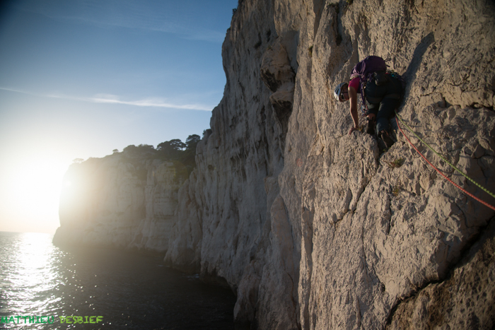Audrey in the 6th pitch of Tabarly traverse