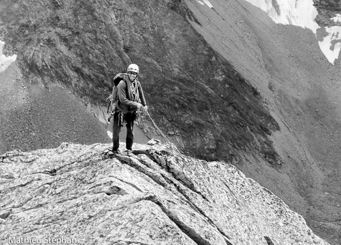 "Me at summit of the route ""trad io"" : 3155m . the ridge is to be done to reach the real summit !"